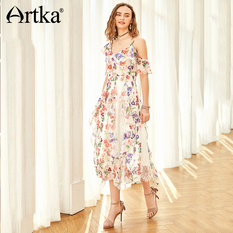 ARTKA 2018 Summer New Women Asymmetrical One Shoulder Strap Ruffled Lace Patchwork Floral Printed Romantic Long
