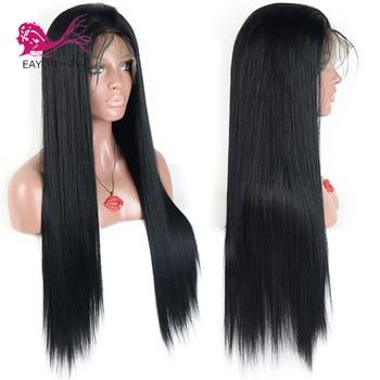 Pelucas de cabello humano EAYON brasileñas con encaje completo, pelucas rectas y sedosas para mujeres negras, cabello humano Remy con cabello de bebé 130% de densidad