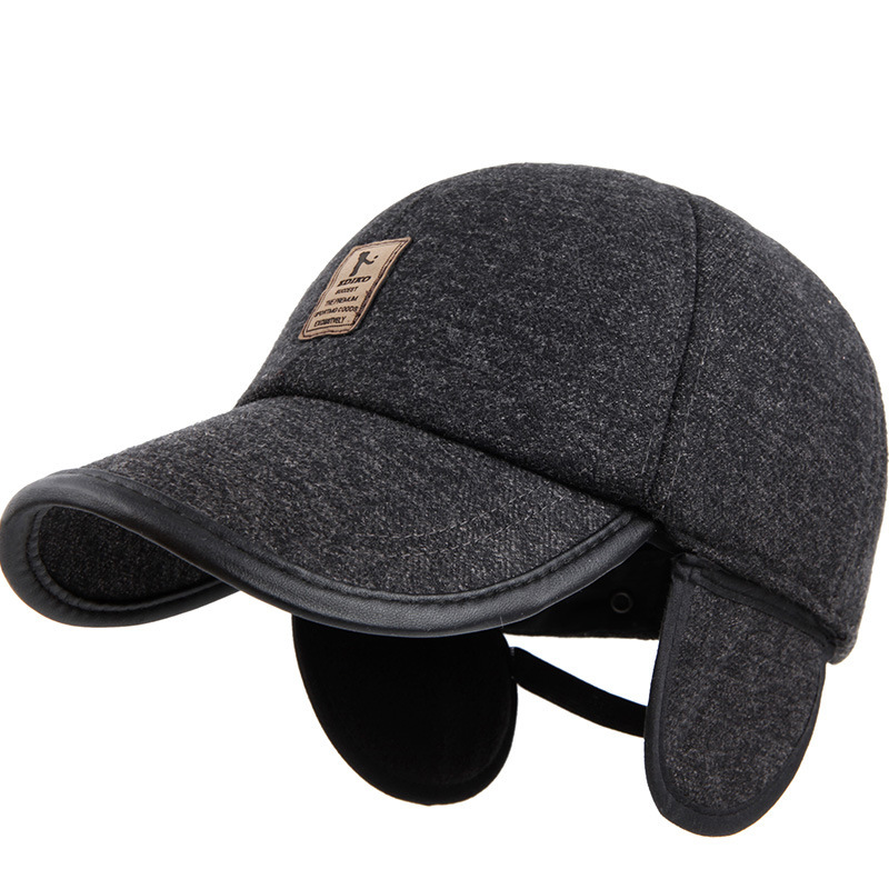 35817c3304a Quinquagenarian cap male winter warm cap thermal leather brim cap winter    autumn pu leather cotton baseball cap ear protection-in Baseball Caps from  Men s ...