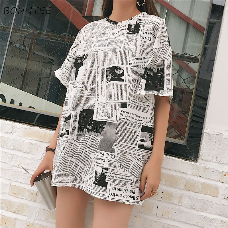 T-shirts Women Short-sleeved Newspaper Pattern Print Long Style Batwing Sleeve Womens T-shirt All-match Trendy Chic Leisure Soft