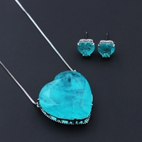 Newranos Blue Heart Pedra Fusion Stone Pendant Necklace & Earrings Sets 30mm*30mm Big Pendant Jewelry Sets for Women SFX0011082