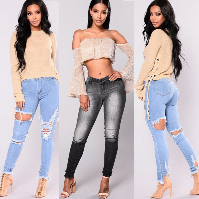 New Fashion Women Hole Denim Skinny Ripped Pant Casual Stretch Jeans Slim Pencil Trousers Stylish Womens Hole Pencil Denim Pants