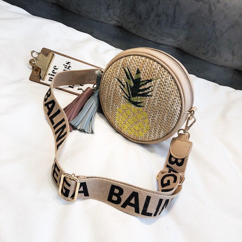 Home Metal Ring Handle Straw Embroidery Pineapple Fashion Girls Shoulder Bag Tote Casual Chain Pursr Crossbody Mini Bag Female Bolsa