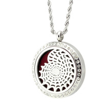 2pcs/lot 30mm magnetic 316L stainless steel aromatherapy essential oil diffuser locket pendant