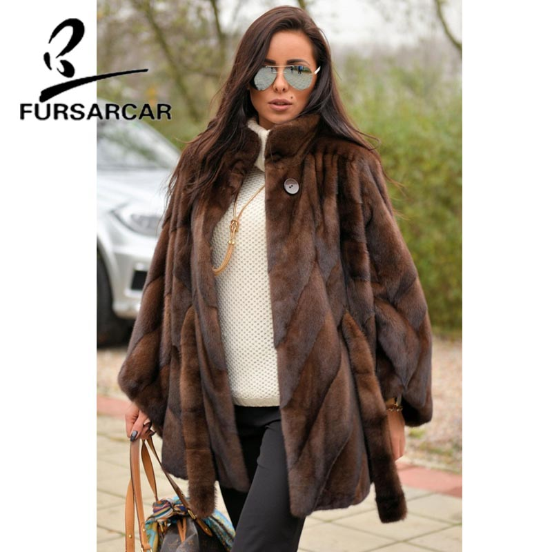 Image 5 - FURSARCAR Women Natural Real Mink Fur Coat With Stand Collar Bat Sleeved Thick Warm Genuine Fur Coat Luxury Female Garment 2019-in Real Fur from Women's Clothing