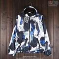 Japanese retro Harajuku street punk thin coat color graffiti and Hooded zip coat wind coat