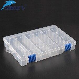 Image 1 - Inteligente ajustável 6 compartimento caixa de pesca plástico iscas pesca enfrentar ganchos iscas armazenamento caso carpa pesca acessórios