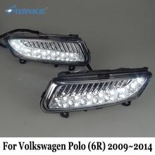 SMRKE DRL For Volkswagen Polo 6R 2009~2014 / Car LED Daytime Running Lights With Fog Lamp / Fog Lamp Frame Car Styling