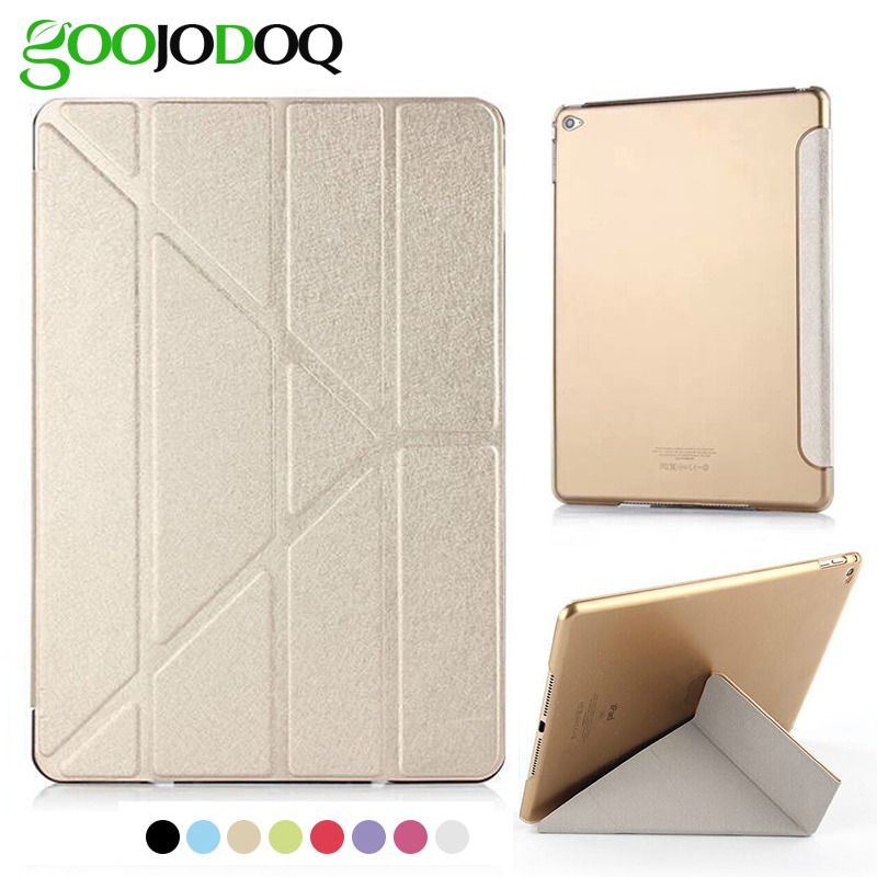 For iPad Air 2 Air 1 Case, GOOJODOQ 5 Shapes Stand Ultra Thin Silk PU Leather Smart Cover with PC Hard Back for Ipad Mini 3 2 1 цена