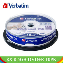 Verbatim 8X 8.5GB Printable DVD+R DL Blank Disc 10Pk Spindle Lot White Wide Inkjet Recordable Double Dual Layer Compact DVD Disk(China)