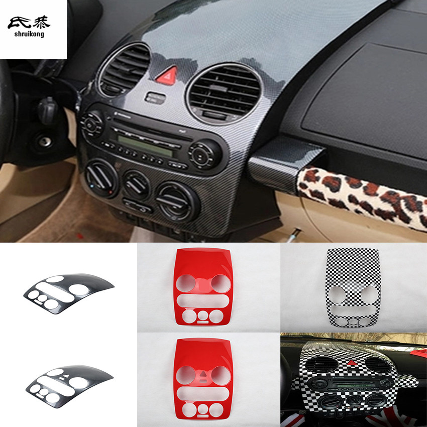 1pc Car Stickers Carbon Fiber ABS Material Central Console Panel Decoration Cover For 2003-2012 Volkswagen VW Beetle