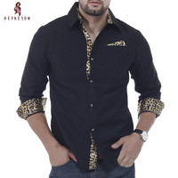 HEYKESON Männer Hemd 2018 Modemarke Männer Leopard Männlichen Langärmeligen T-shirt Beiläufige Dünne Männliche Shirts XXL CNKS