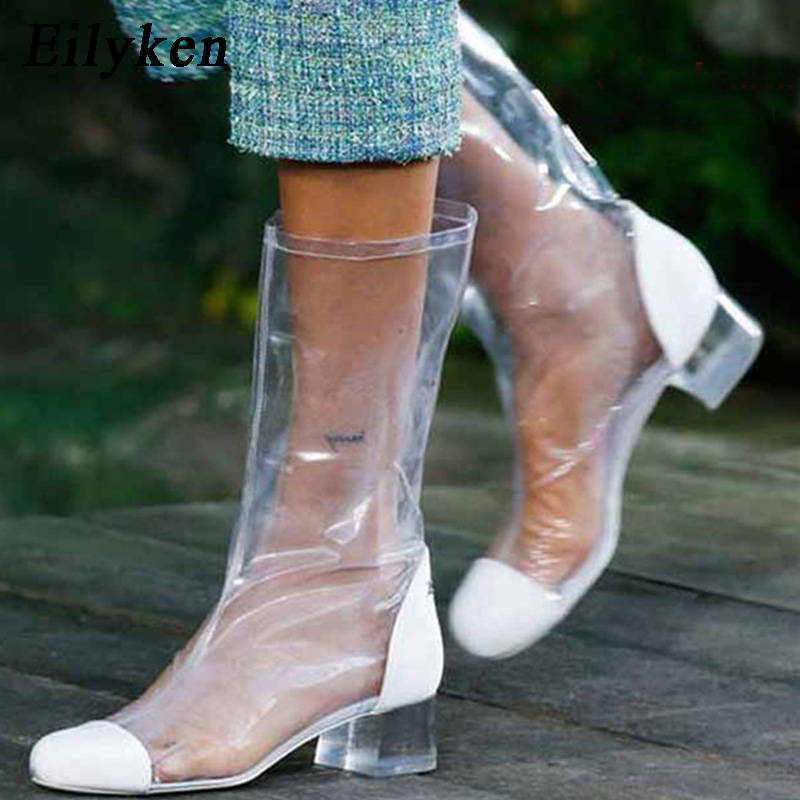 Eilyken 2018 New PVC Transparent Boots Kim Kardashian Chelsea Boots Shoes Clear Chunky heels Mujer Square heel Women Boots kim kardashian s marriage