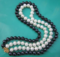 Selling>> 2 Rows 7-8mm BLACK WHITE Freshwater PEARL NECKLACE 17-18