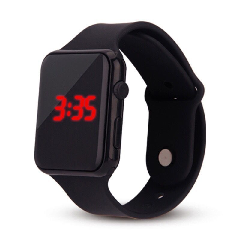 Square Watch Rubber LED Watches 24 hours Date Bracelet Digital Sports Wristwatch Gift for Children student