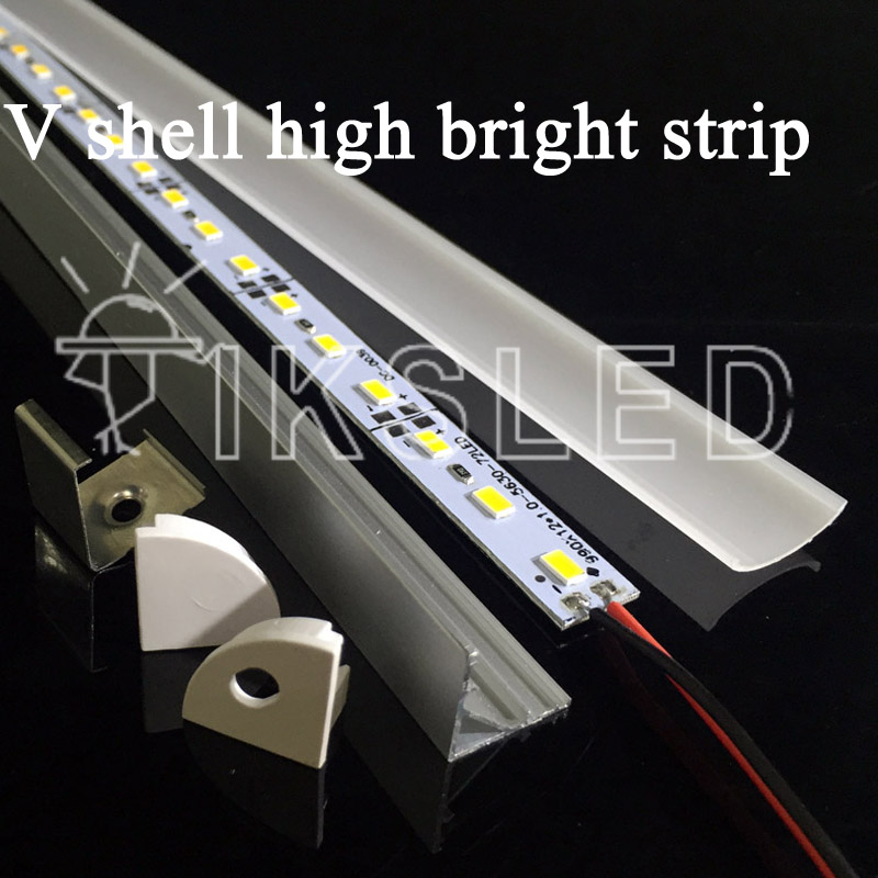 free shipping 2pcs/slot 0.5M 12V Super bright 5730 36SMD with led v channel profil and cover 18W/M Hard Rigid LED Strip