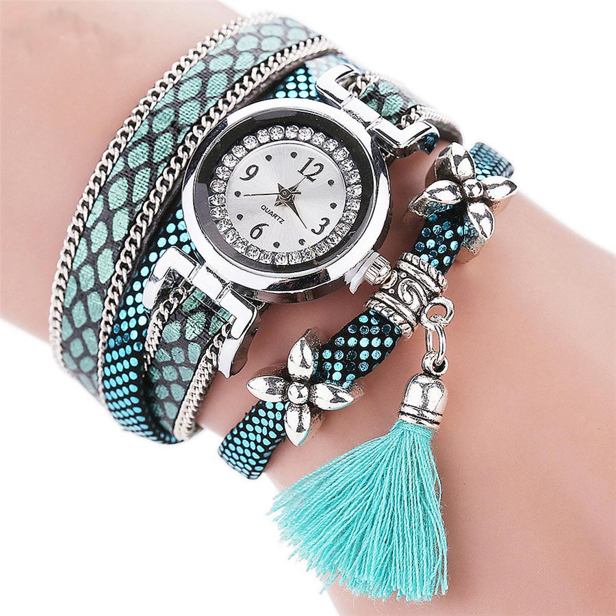 Fashion Women Bracelet Watch Jewelry Clock Tassel Pendant Wristwatch PU Leather Rope Band Quartz Watches Gift LL@17
