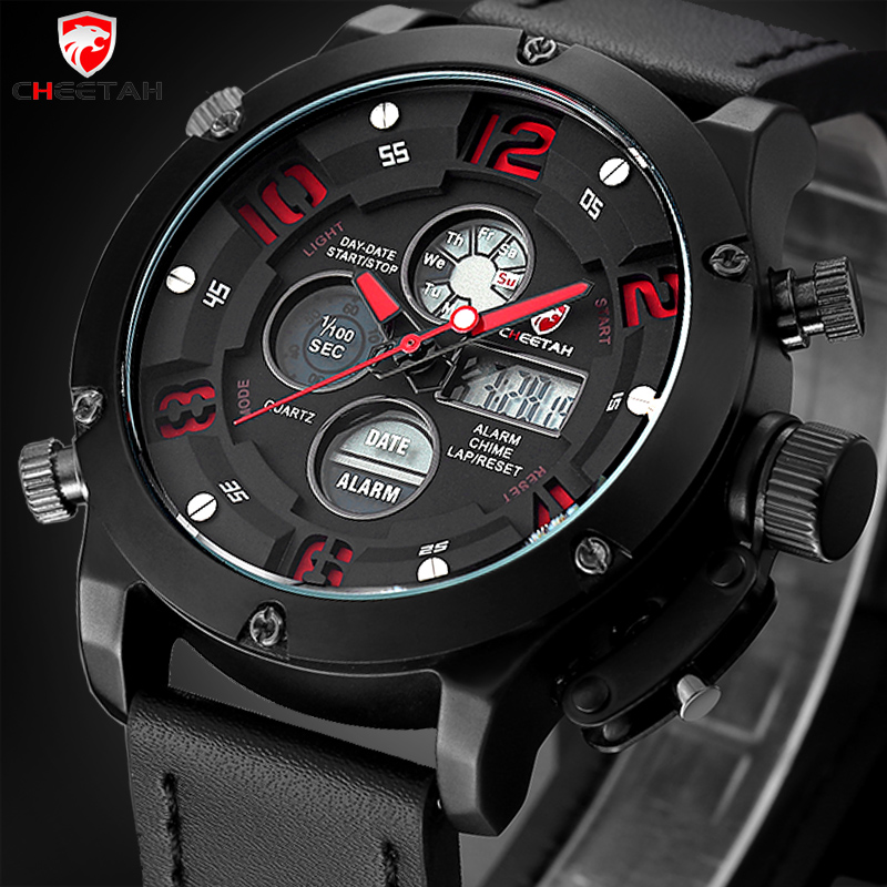 CHEETAH Top Men Watches Luxury Brand Men's Quartz Hour Analog Digital LED Leather Sports Watch Men Army Military Wrist Watch top men watch luxury brand men s quartz hour analog digital led sports watch for men army military wrist watch relogio masculino