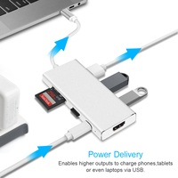 USB C HDMI Adapter For Macbook Pro GOOJODOQ 3 Ports USB 3 0 Type C Hub