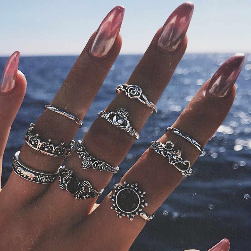 10 шт./партия на фаланги, бохо, кольца для женщин, богемный стиль, слон, цветок, сердце, панк, кольцо на палец средней длины, набор, индийские ювелирные изделия, Anillos Mujer