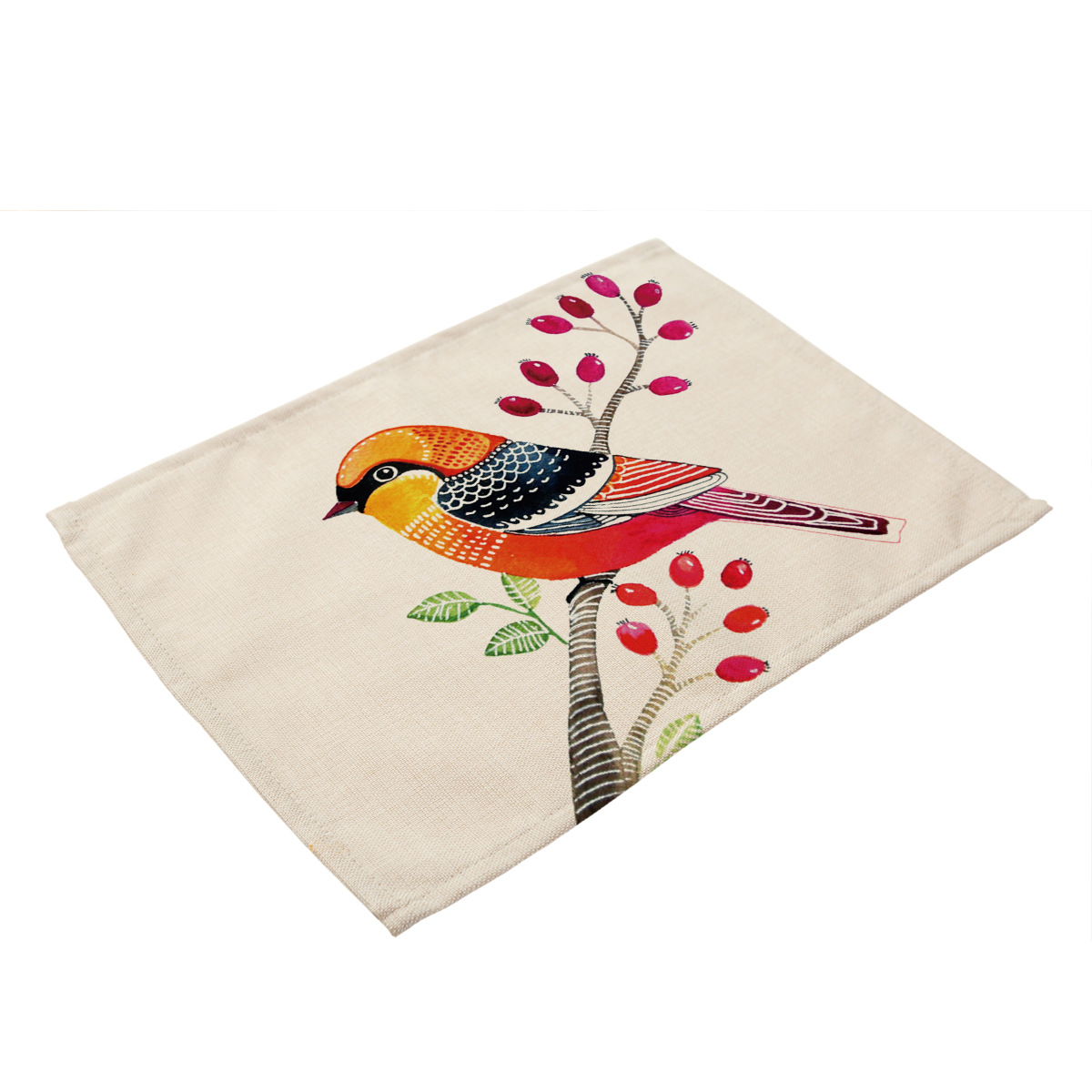 Bird Plant Flower Cactus Printing Cloth Table Mat Coaster Set Placemat Coasters Pad Mat Kitchen Accessories Decoration Home in Tablecloths from Home Garden