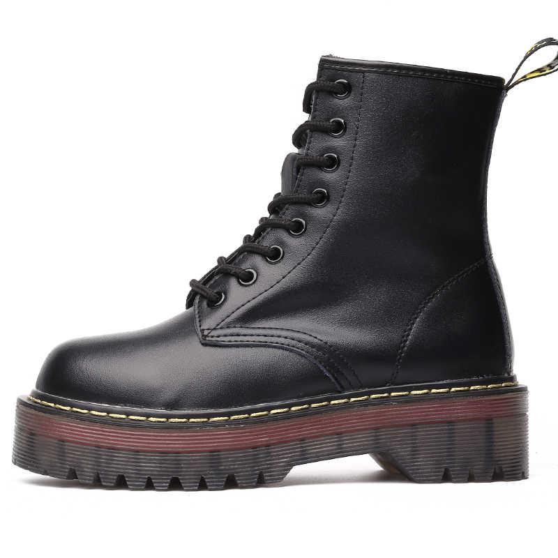 AIYUQI düz Platform çizmeler kadın ayakkabıları 2019 yeni hakiki deri bayanlar patik kış kürk moda dantel-up kadın Martin çizmeler