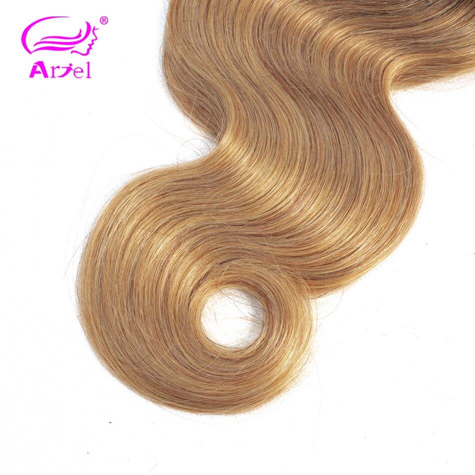 ARIEL Pre-Colored Hair 1/3 Bundles Blonde Brazilian Body Wave Hair Weave Bundles Non Remy 2 Tone 1b 27 Ombre Human Hair Bundles