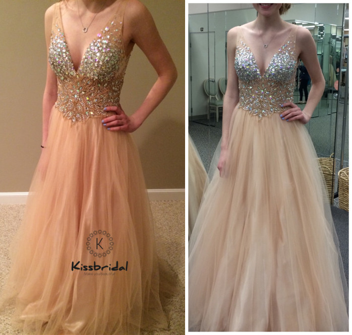 New Style Champagne   Prom     Dress   Sexy V-neck vestido formatura Crystal Beaded Tullle Party Evening   Dresses