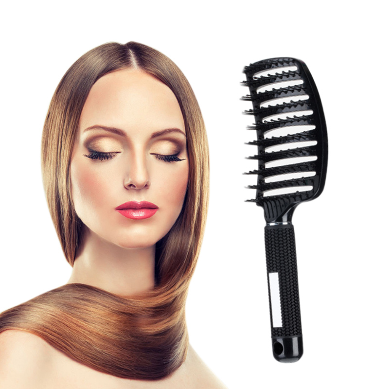 2017 New Hot Anti-static Hair Brush Curved Row Comb Scalp Massager Barber Hairdressing Styling Tools Fastshipping