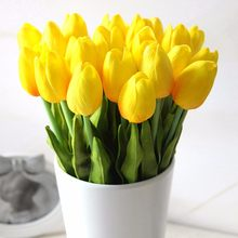 1Pcs Tulip Artificial Flowers Real touch artificiales para decora Bouquet Flowers For Home Gift Wedding Decorative Flowers(China)