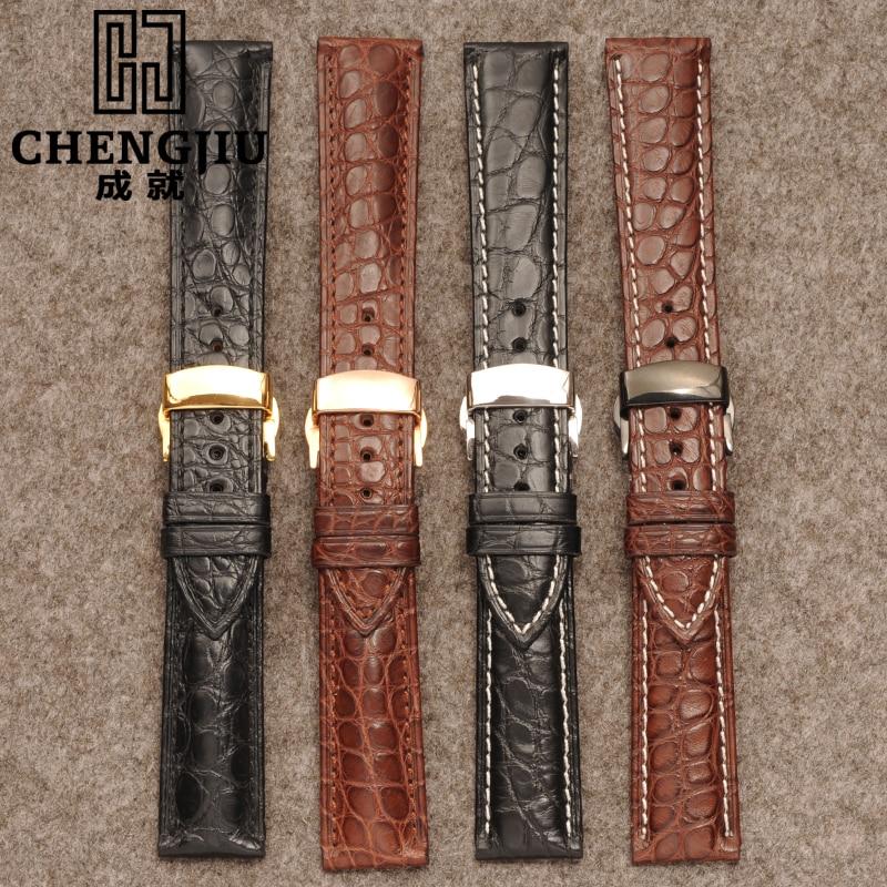 2eb8b8468825 Correa de reloj para relojes Longines correa de piel de cocodrilo correa de reloj  pulsera de plata dorada 16 18 19 20 22 24mm Re en Correas de reloj de ...