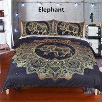 3PCS African Tribal Elephant Bedding Set Boho Mandala Golden Flower Ethnic Indian God Ganesha Duvet Cover Indian Symbol Bed Set