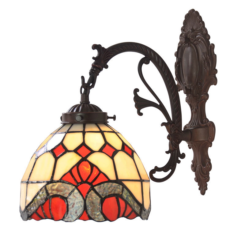 European Retro Baroque Style Stained Glass Metal LED Sconces Wall Lamp Light Kids Bedroom Bedside Bathroom Porch Stair Lighting