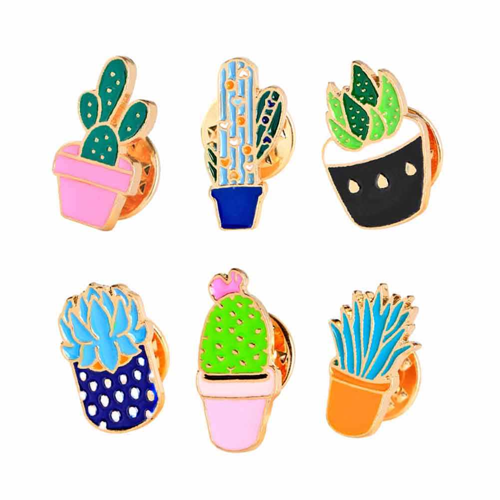 6 Style Cartoon Fashion Enamel Pin Metal Brooch Mini Green Plant Potted Cactus Button Brooches Denim Jacket Collar Badge Pins