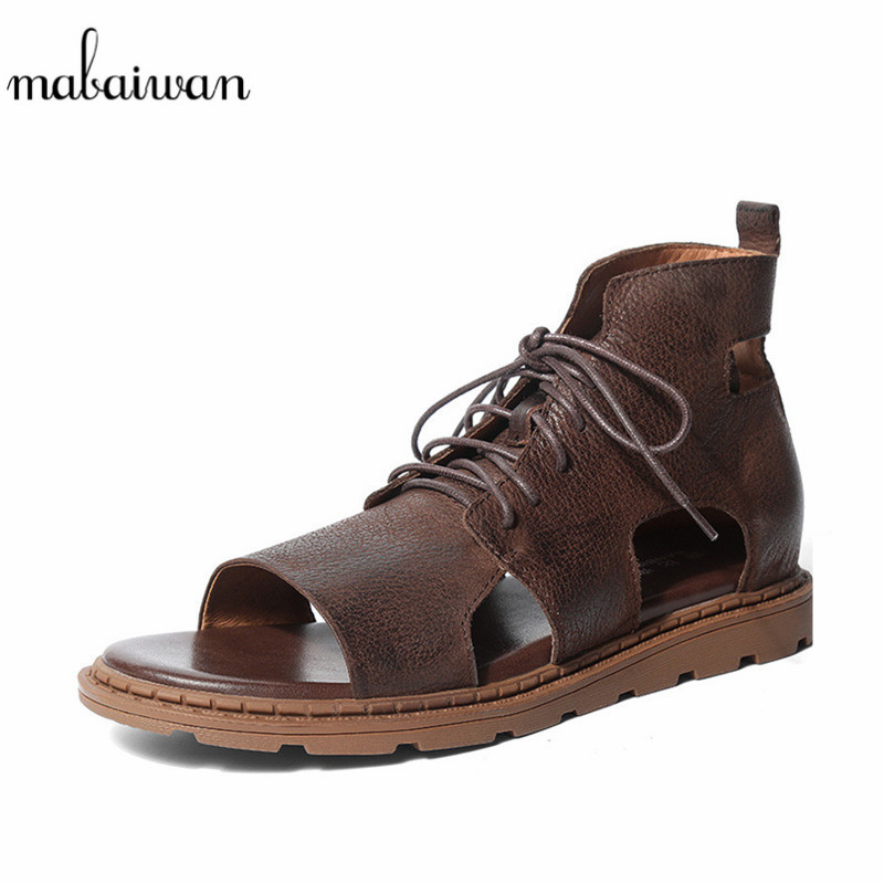 Mabaiwan New Fashion Punk Style Men Summer Beach Sandals Leather Gladiator Flats Lace Up Slipper Shoes Men Handmade Ankle Boots