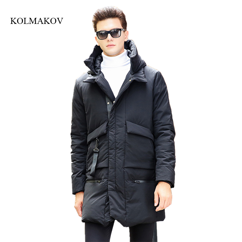 New arrival winter style men high-end boutique down coats fashion casual slim hooded mens solid zippers dress coat size M-3XL