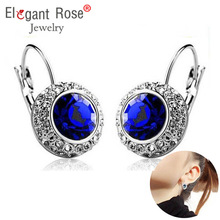 Fashion Crystal Round Earrings for Women Wedding Jewelry Green Purple Red Blue Yellow Royal blue Stud Earring Party CJC60