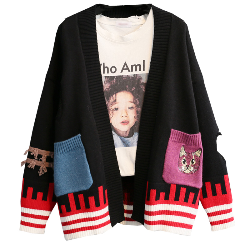 Tricoté See Nouveau Hiver Outwear Chandails Automne 2018 Mignon see Chart Dame Tops Chart Femmes cou Lâche Animal Chat Broderie V Cardigans Rose Manteau DHIeW92YE