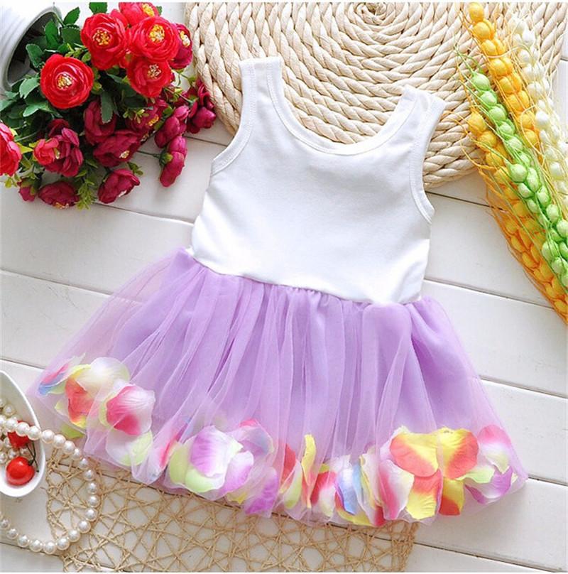2016 Summer Newborn Infant Flower Dress Sleeveless Patchwork Petal Pattern Toddler Infant Clothes Dress Floral Round Neck (2)