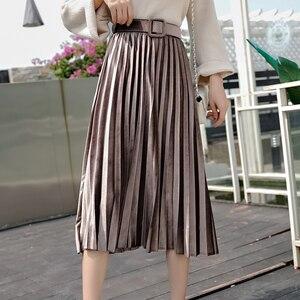 Image 3 - חצאיות נשים 2019 סתיו אמצע עגל אורך Faldas Mujer Moda אלסטיות גבוהה מותניים נהיגה לראשונה חצאית Femme Saia Midi מוצק נשי קפלים חצאית