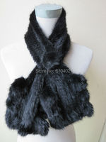 Wholesale Sell Retail Free Shipping Real Mink Knitted Fur Flouncing Scarf Black