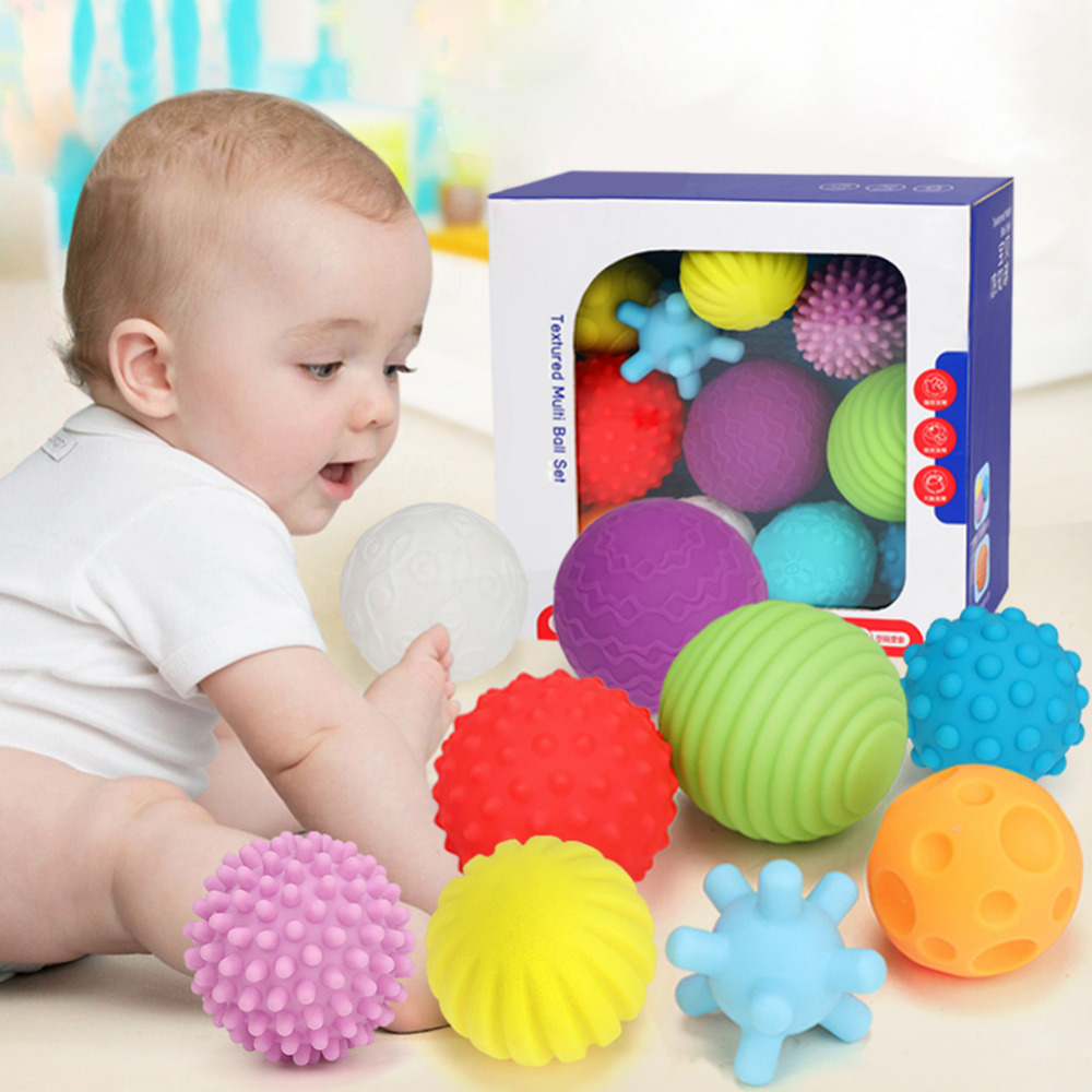 Baby Toys Hand Grasping Ball Soft Ball Textured Multi Ball Set Develop Baby's Tactile Senses Toy for Touch and Massage Soft Ball