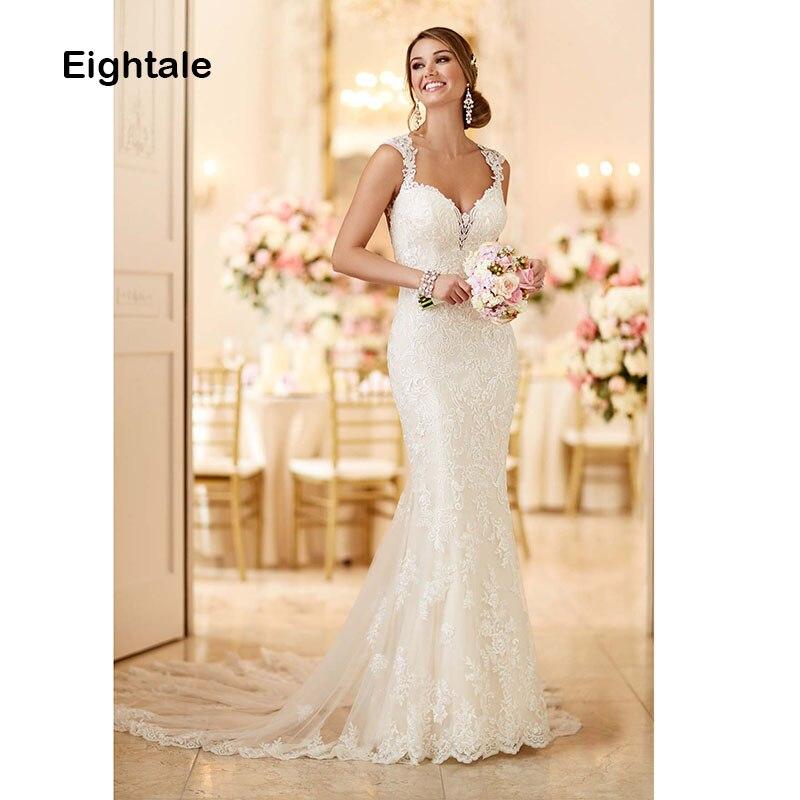 Eightale Mermaid Wedding Dresses 2019 Lace Sweetheart Wedding Gowns Lace Backless Bride Dress vestido de noiva