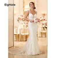 Eightale Mermaid Wedding Dresses 2019 Lace Sweetheart Wedding Gowns Lace Backless Bride Dress vestido de noiva boho