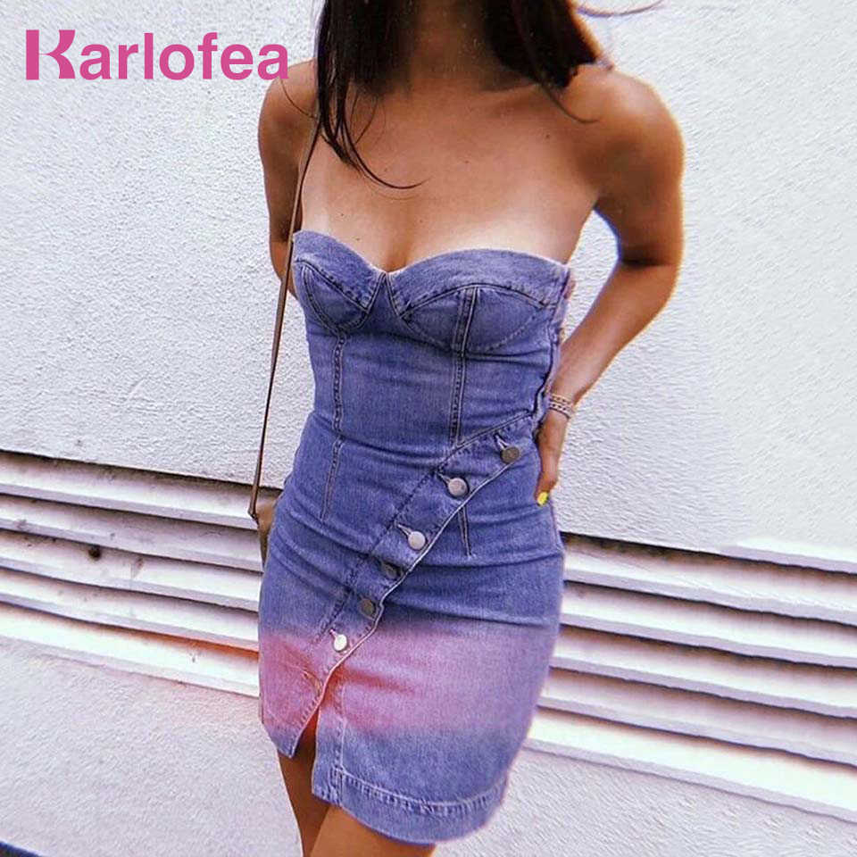 d0593b85c2 Karlofea Female Summer Autumn Base Denim Mini Dress Sexy Slim Blue Bodycon Strapless  Jeans Dress Casual
