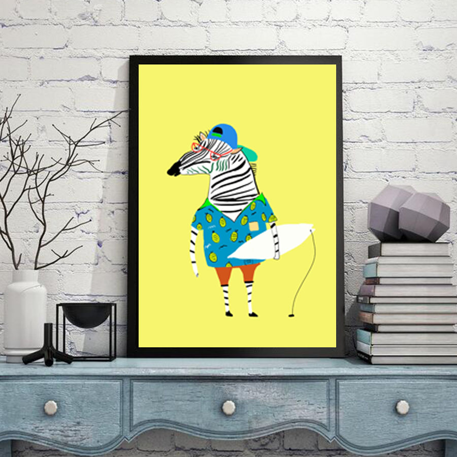 Nordic Watercolor Modern Animal Zebra Art Print Sloth Poster A4 ...