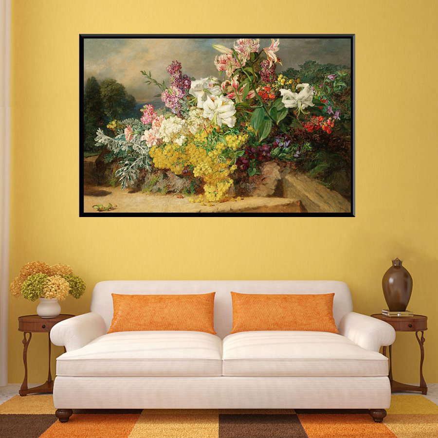 White & Pink Daffodil Yellow Flowers Oil Artwork Print Canvas ...