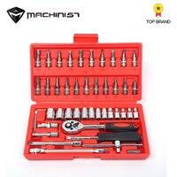 46pcs 1/4 Inch Socket Set Car Repair Tool Ratchet Set Torque Wrench Combination Bit a set of keys Chrome Vanadium car repair