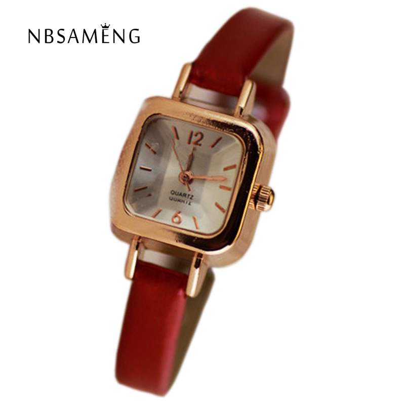 2017 Brand Quartz Women Watch Retro Simple Small Square Dial Wristwatch Classic Ladies Leather Band Watches Relojes Mujer