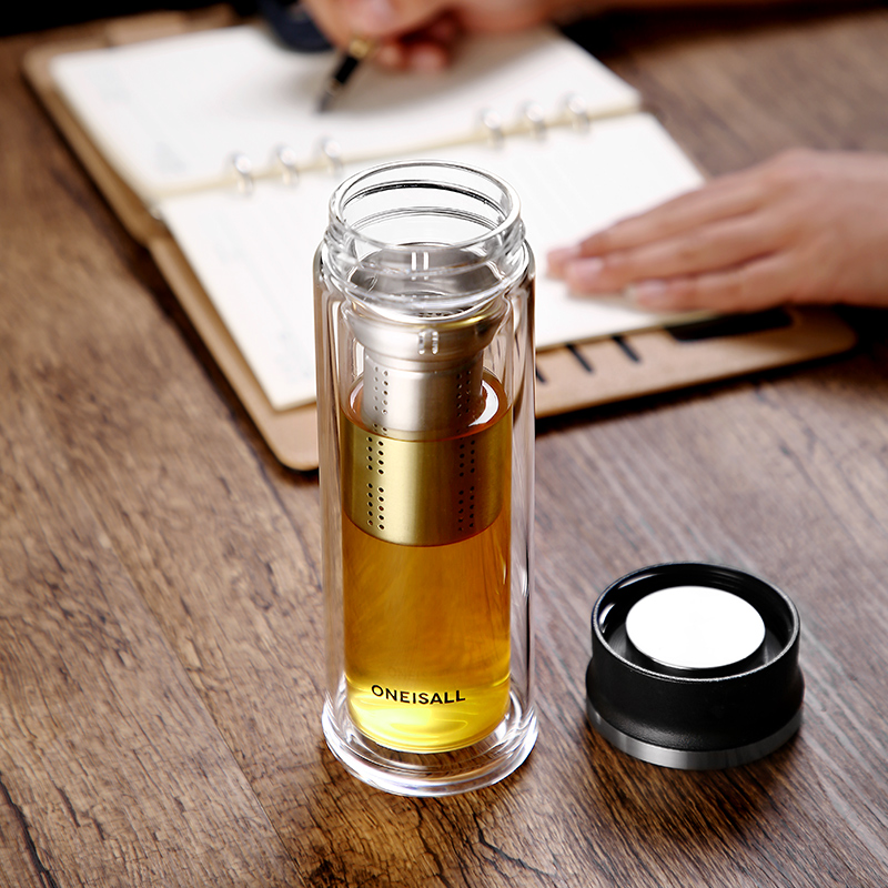 Glass Bottle With Tea Infuser Double Wall Glass Portable Travel Outdoor Tea Tumbler Bottles Home Office Drinkware for Car 350ML in Water Bottles from Home Garden